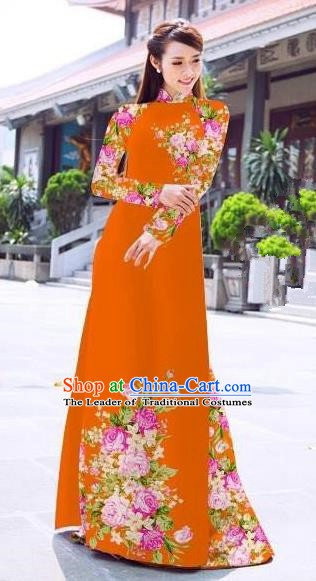Asian Vietnam Palace Costume Vietnamese Trational Dress Printing Rose Orange Ao Dai Cheongsam Clothing for Women