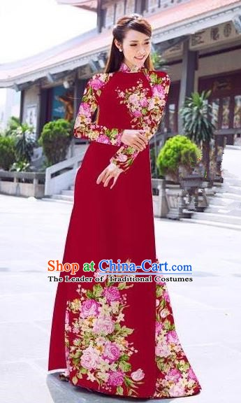 Asian Vietnam Palace Costume Vietnamese Trational Dress Printing Rose Red Ao Dai Cheongsam Clothing for Women
