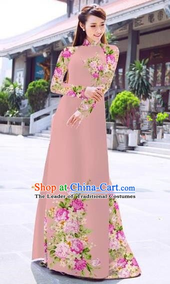Asian Vietnam Palace Costume Vietnamese Trational Dress Printing Rose Light Pink Ao Dai Cheongsam Clothing for Women