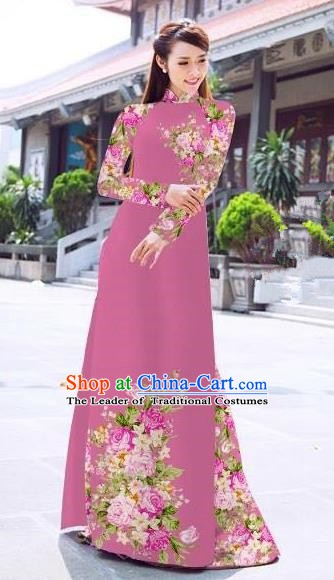 Asian Vietnam Palace Costume Vietnamese Trational Dress Printing Rose Peachy Beige Ao Dai Cheongsam Clothing for Women