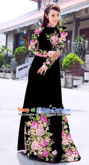 Asian Vietnam Palace Costume Vietnamese Trational Dress Printing Rose Black Ao Dai Cheongsam Clothing for Women