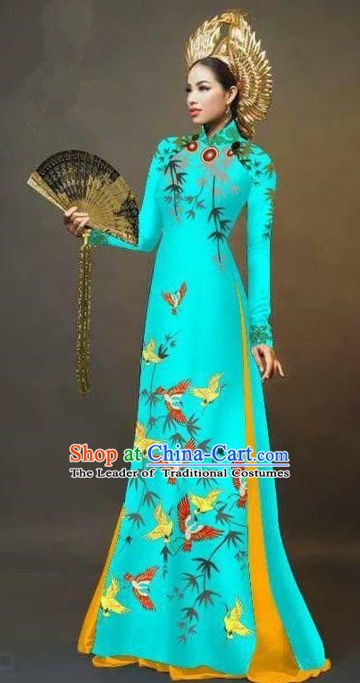 Asian Vietnam National Costume Vietnamese Trational Dress Printing Bamboo Blue Ao Dai Cheongsam for Women