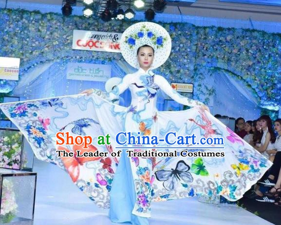 Asian Vietnam National Costume Vietnamese Stage Performance Trational Dress Ao Dai Cheongsam for Women