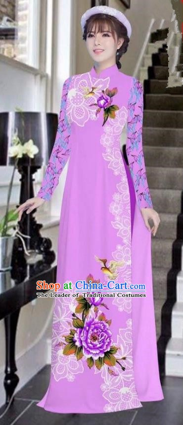 Asian Vietnam National Costume Vietnamese Bride Trational Dress Printing Peony Lilac Ao Dai Cheongsam for Women