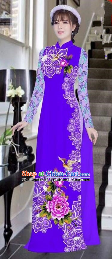 Asian Vietnam National Costume Vietnamese Bride Trational Dress Printing Peony Purple Ao Dai Cheongsam for Women