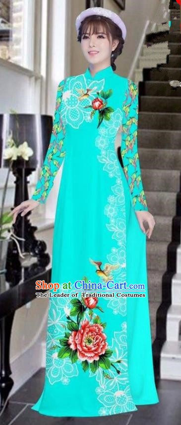 Asian Vietnam National Costume Vietnamese Bride Trational Dress Printing Peony Lake Blue Ao Dai Cheongsam for Women