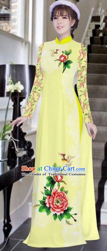 Asian Vietnam National Costume Vietnamese Bride Trational Dress Printing Peony Light Yellow Ao Dai Cheongsam for Women