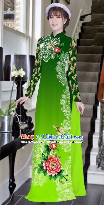 Asian Vietnam National Costume Vietnamese Bride Trational Dress Printing Peony Deep Green Ao Dai Cheongsam for Women