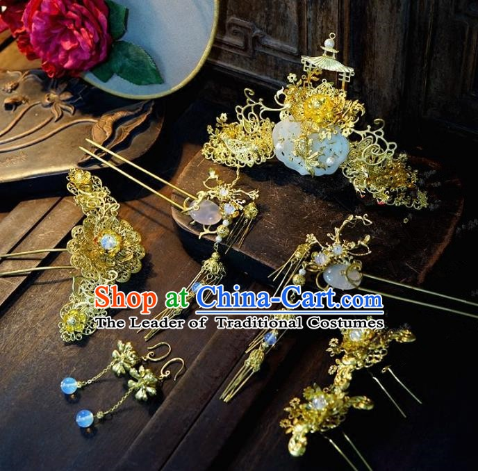 Chinese Handmade Classical Xiuhe Hair Accessories Hair Clip Ancient Bride Hairpins Complete Set for Women