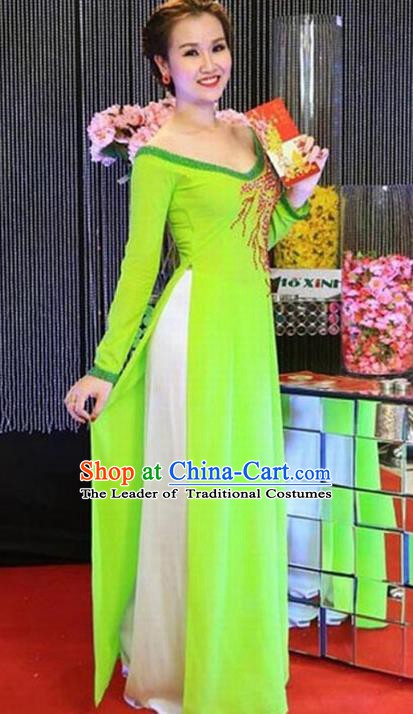 Asian Vietnam Palace Costume Vietnamese Trational Dress Green Ao Dai Cheongsam Clothing for Women