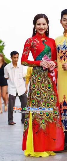 Asian Vietnam Palace Wedding Costume Vietnamese Trational Dress Printing Peacock Red Ao Dai Cheongsam Clothing for Women