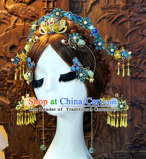 Chinese Handmade Classical Xiuhe Hair Accessories Luxurious Phoenix Coronet Ancient Cloisonne Hairpins for Women
