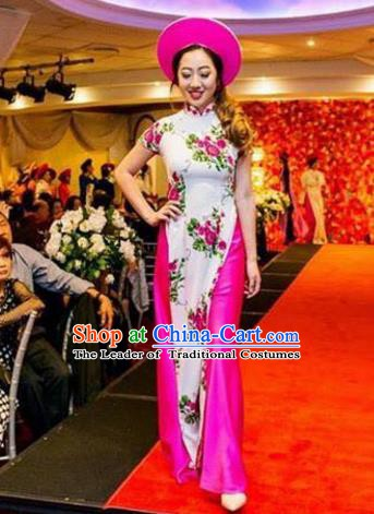 Asian Vietnam Costume Vietnamese Bride Trational Stage Performance Ao Dai Cheongsam Dress for Women