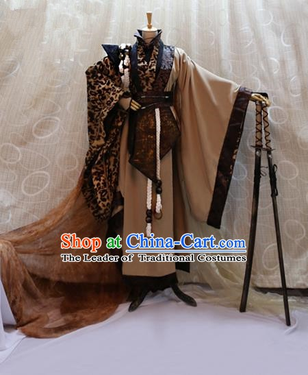 Ancient Traditional China Tang Dynasty Swordsman Knight Costumes Complete Set for Men