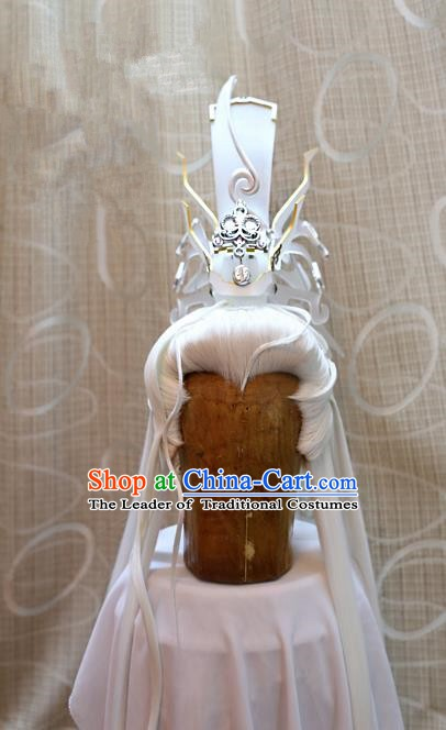 Ancient China Tang Dynasty Swordsman Wig Hair Accessories Royal Highness Wiggery