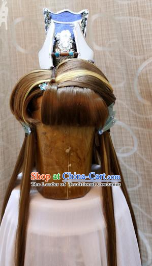 China Ancient Tang Dynasty Cosplay Swordswoman Hair Accessories Wig Sheath