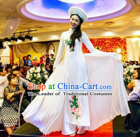 Asian Vietnam Costume Vietnamese Bride Trational Stage Performance Printing Flowers White Ao Dai Cheongsam Dress for Women