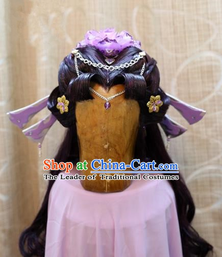 China Ancient Tang Dynasty Cosplay Princess Swordswoman Hair Accessories Wig Sheath
