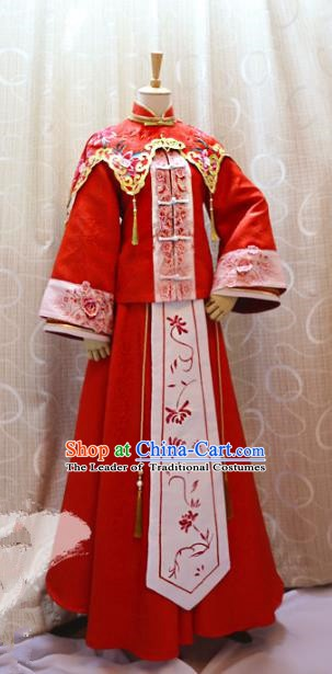 China Ancient Cosplay Princess Clothing Traditional Han Dynasty Palace Lady Red Wedding Dress for Women