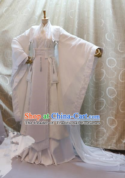 China Ancient Cosplay Swordswoman Clothing Traditional Tang Dynasty Palace Princess White Dress for Women
