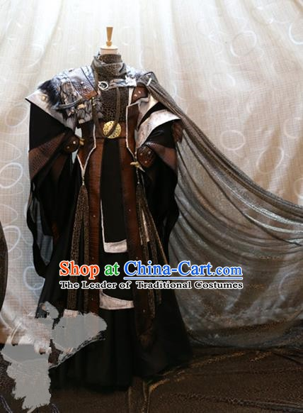 Ancient China Cosplay Royal Emperor Costumes Swordsman Embroidered Clothing for Men