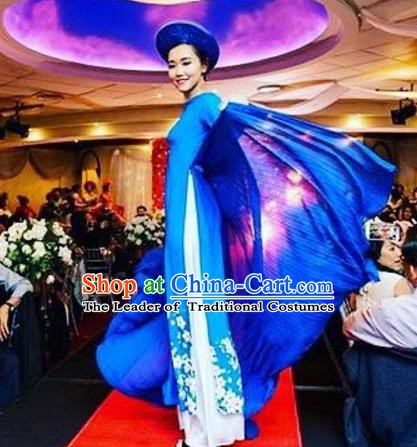 Asian Vietnam Costume Vietnamese Bride Trational Stage Performance Printing Flowers Blue Ao Dai Cheongsam Dress for Women
