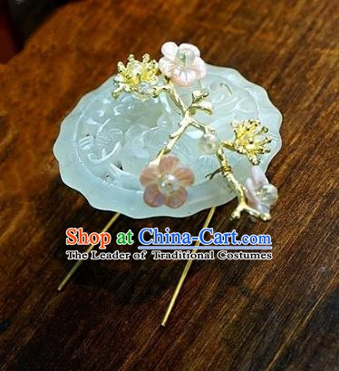 Chinese Handmade Classical Hair Accessories Luxurious Jade Hair Clip Ancient Hairpins for Women