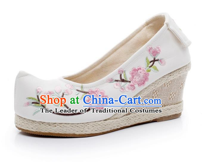 Asian Chinese Wedding Shoes Princess Shoes, Traditional China Handmade Hanfu Embroidered Shoes
