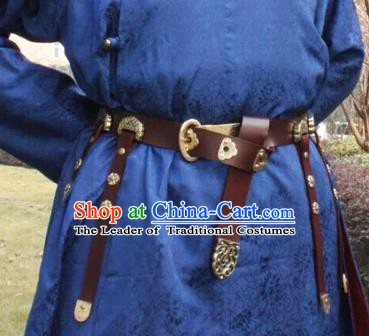Ancient China Tang Dynasty Imperial Bodyguard Swordsman Leather Belts Waistband for Men