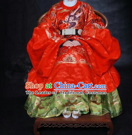 Ancient Chinese Ming Dynasty Imperial Empress Embroidered Wedding Red Costume for Women