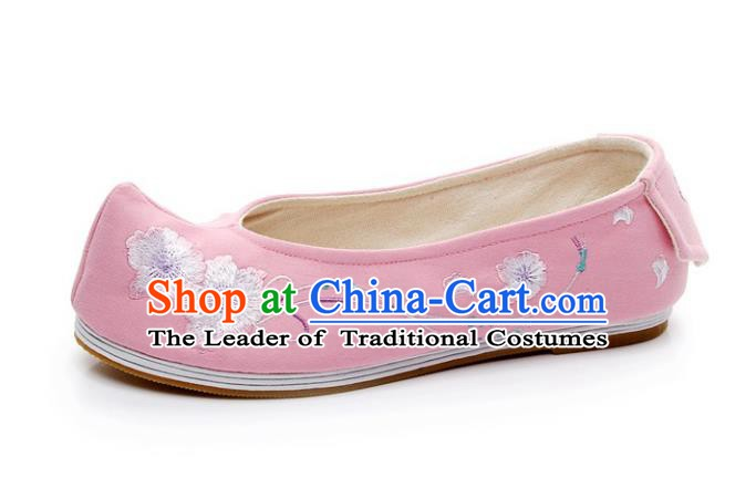 Asian Chinese Wedding Shoes Pink Princess Shoes, Traditional China Handmade Hanfu Shoes Embroidered Shoes