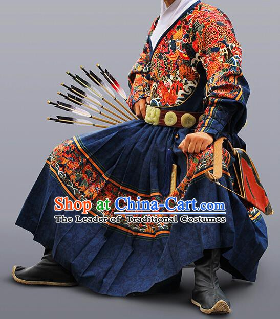 Ancient Chinese Ming Dynasty Imperial Bodyguard Embroidered Costume Blue Fly Fish Cloths for Men