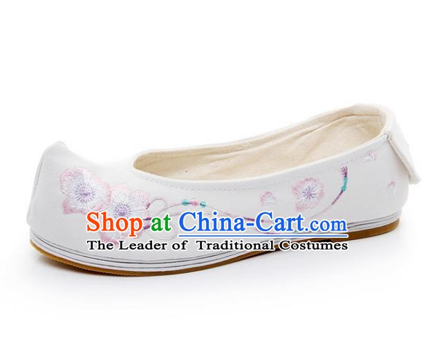 Asian Chinese Wedding Shoes White Princess Shoes, Traditional China Handmade Hanfu Shoes Embroidered Shoes