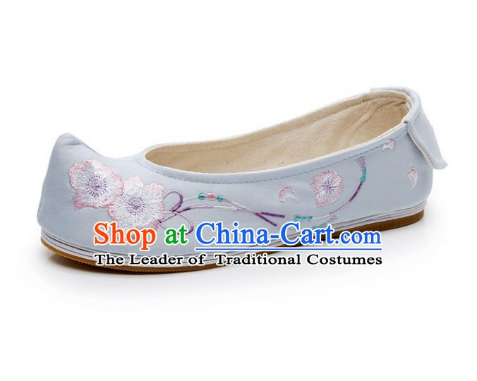 Asian Chinese Wedding Shoes Blue Princess Shoes, Traditional China Handmade Hanfu Shoes Embroidered Shoes