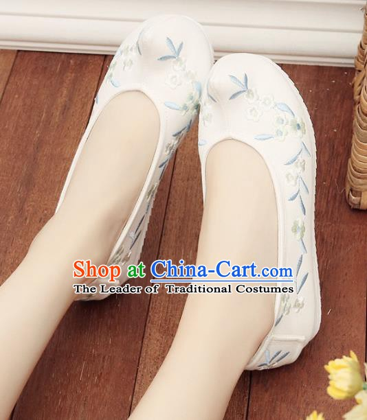 02e35ae0f Asian Chinese Wedding Shoes Embroidery White Princess Shoes, Traditional  China Handmade Hanfu Shoes Embroidered Shoes