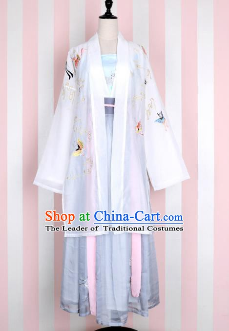 Ancient Chinese Song Dynasty Palace Lady Embroidered Butterfly Costume, China Ancient Princess Clothing for Women