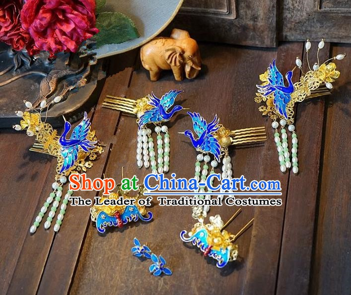 Chinese Handmade Classical Hair Accessories Ancient Blueing Crane Hairpins Hair Clip for Women