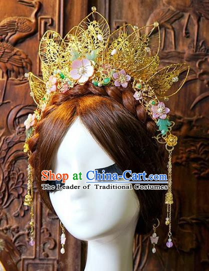 Chinese Handmade Classical Hair Accessories Ancient Golden Lotus Phoenix Coronet Hairpins for Women