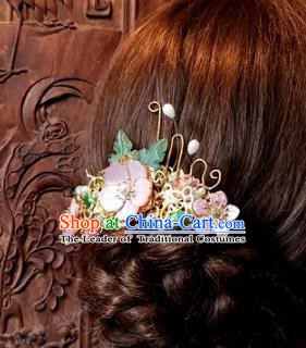 Chinese Handmade Classical Hair Accessories Ancient Pink Flowers Hairpins for Women