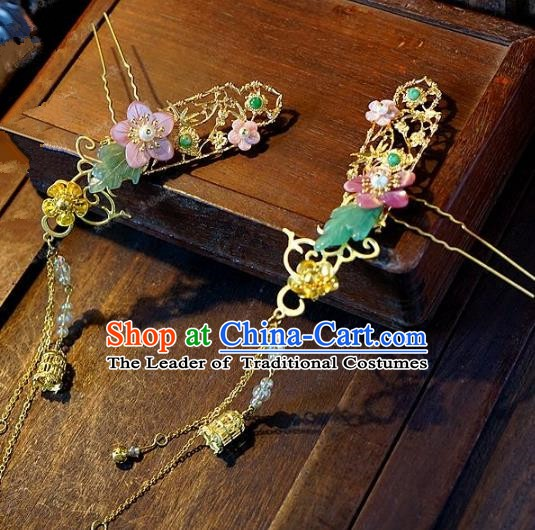 Chinese Handmade Classical Hair Accessories Ancient Pink Flowers Hairpins Tassel Step Shake for Women