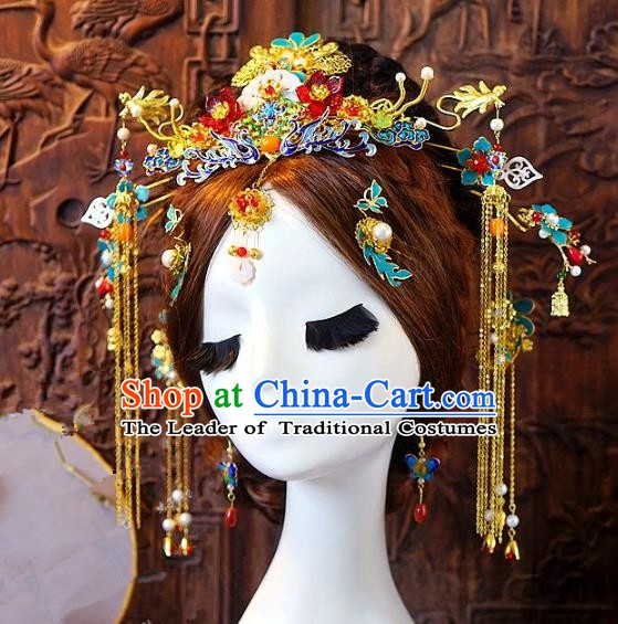 Chinese Handmade Classical Hair Accessories Ancient Hanfu Blueing Phoenix Coronet Hairpins Complete Set for Women