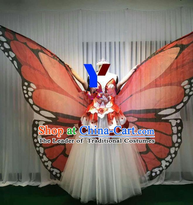 Professional Modern Dance Stage Performance Dress Halloween Costume and Orange Butterfly Wings for Women