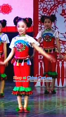 Traditional Chinese Yangge Fan Dance Costume, China Folk Dance Yangko Clothing for Kids
