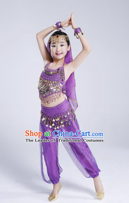 Traditional India Dance Purple Costume, Asian Indian Belly Dance Paillette Clothing for Kids