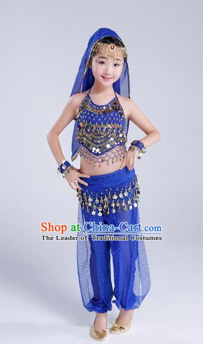 Traditional India Dance Royalblue Costume, Asian Indian Belly Dance Paillette Clothing for Kids