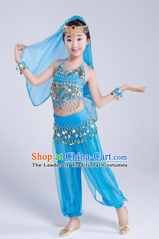 Traditional India Dance Blue Costume, Asian Indian Belly Dance Paillette Clothing for Kids