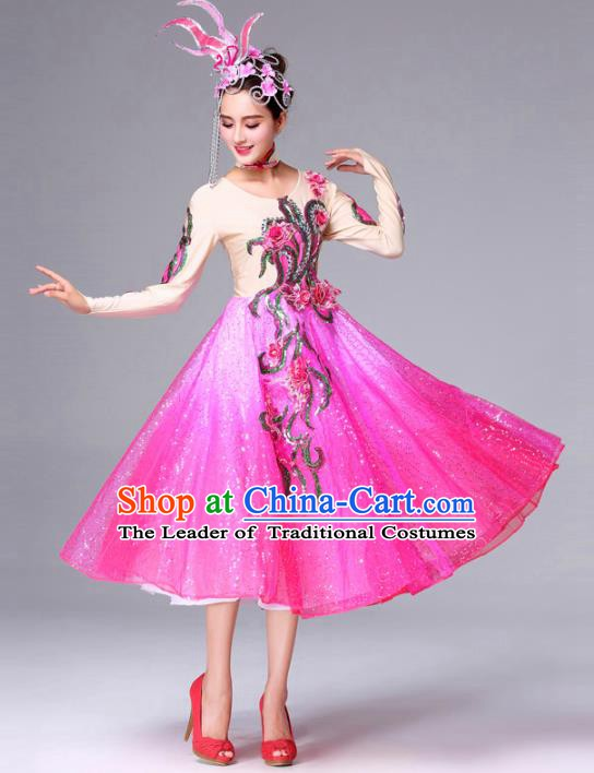 Traditional Chinese Yangge Fan Dance Costume, Folk Dance Yangko Classical Dance Pink Dress for Women