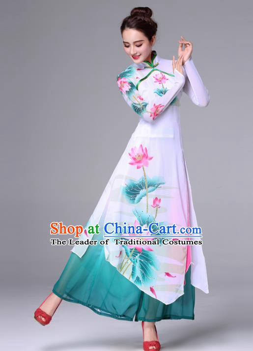 Traditional Chinese Yangge Fan Dance Costume, Folk Yangko Dance Classical Lotus Dance Green Dress for Women