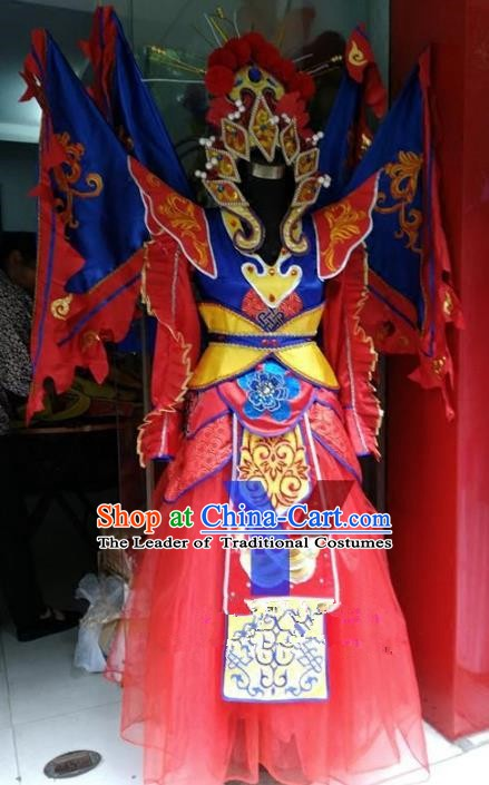 Traditional Chinese Beijing Opera Magic Warriors Costume, China Peking Opera Blues Clothing for Women