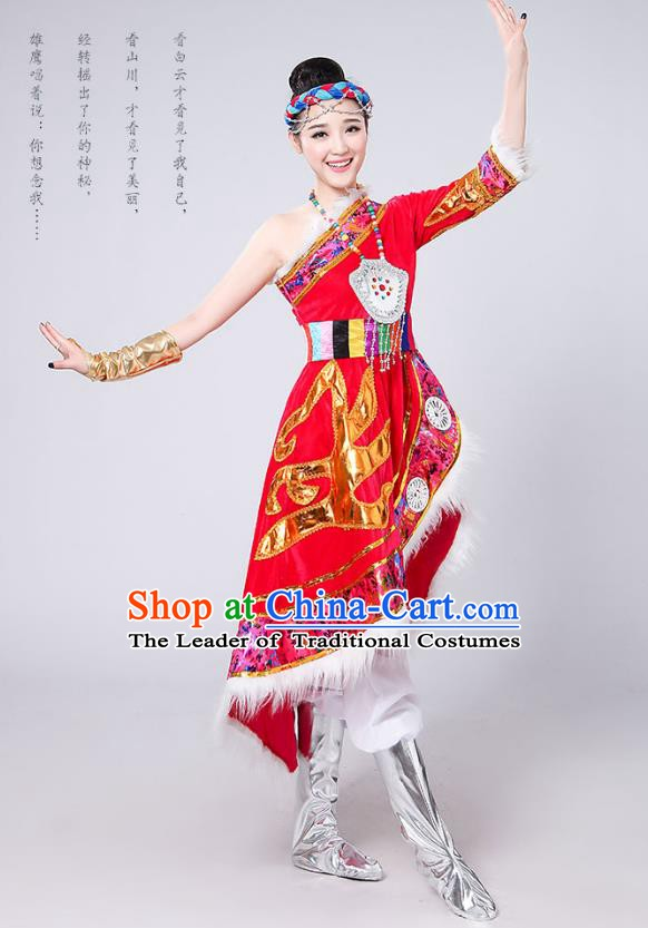 Traditional Chinese Mongol Nationality Dance Costume, Mongols Female Folk Dance Embroidery Red Dress for Women